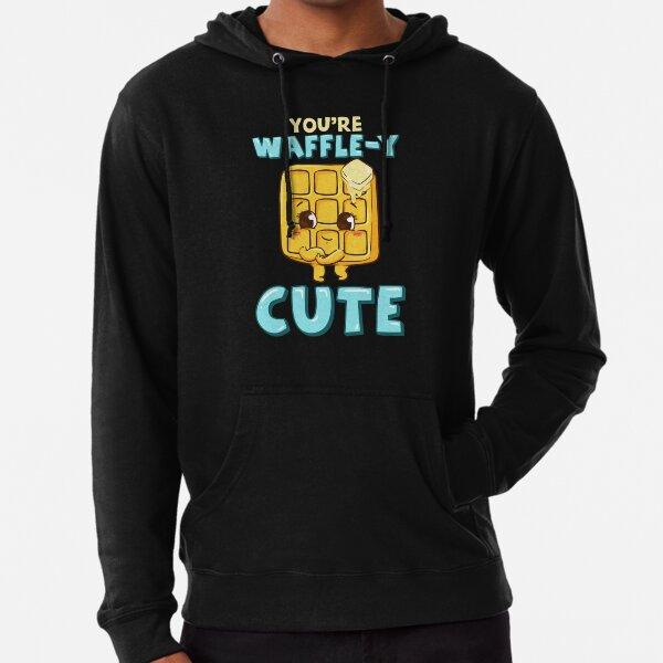 Funny You're Waffle-y Cute Waffle Breakfast Pun Lightweight Hoodie