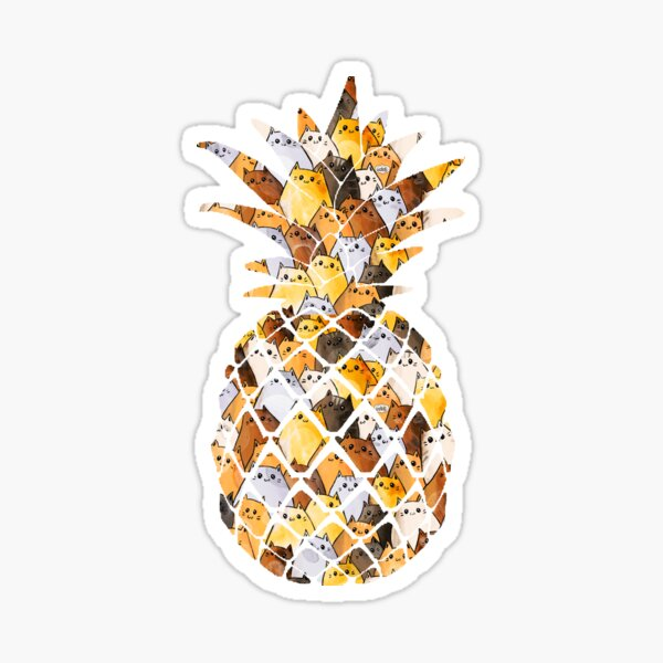 Pineapple Cats - Ginger Cat Pattern - Cats in Pineapple Sticker