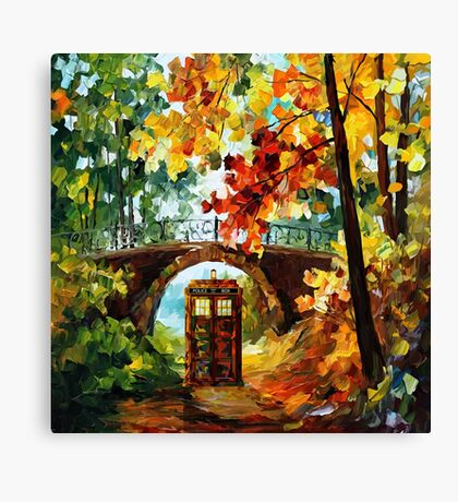 Abandoned time travel phone box under the bridge painting Canvas Print