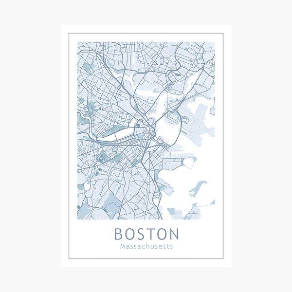 Boston City Map, USA City Massachusetts Photographic Print