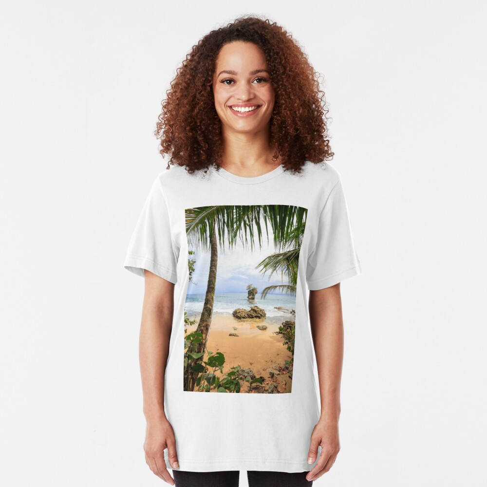 Beach in Manzanillo Costa Rica Slim Fit T-Shirt