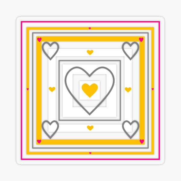 Heart pattern in the square 6 Transparent Sticker