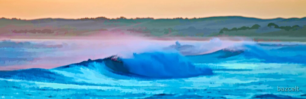 Sunset Wave Watercolour by bazcelt