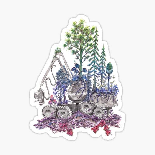 Reforestation - Rainbow Nature on Logging Machine Sticker