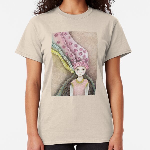 whimsical fairy girl with flower hair  Classic T-Shirt