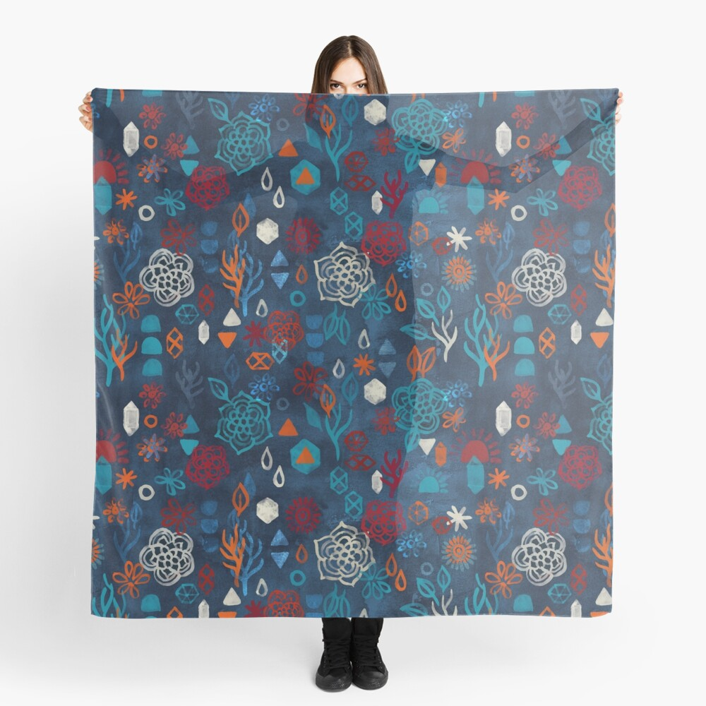Earth, Water, Fire, Air - a watercolor pattern Scarf