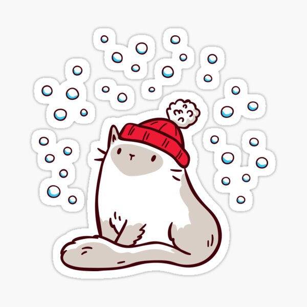 Cat Watching Snowfall Sticker