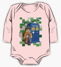 8bit blue phone box with space and time traveller One Piece - Long Sleeve
