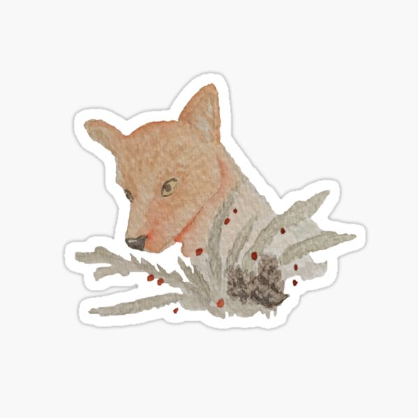 Winter Red Fox Watercolor Painting Sticker
