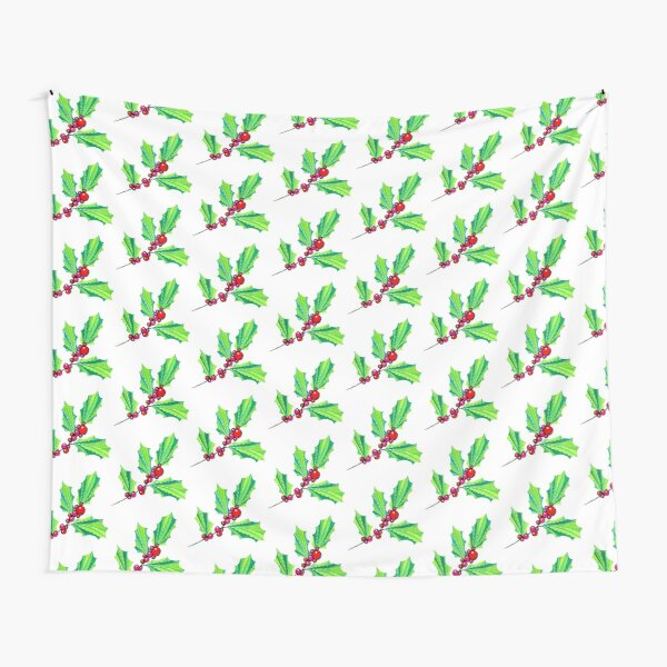 Christmas Holly Leaves Tapestry