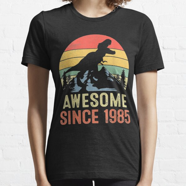Awesome Since 1985 Dinosaur 34th Birthday Gifts 34 Years Old Essential T-Shirt