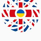 British Ukrainian Multinaitonal Patriot Flag Series by Carbon-Fibre Media