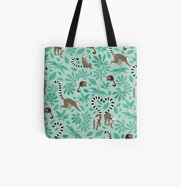 lemur love mint leaves All Over Print Tote Bag
