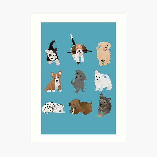 puppies (blue) Art Print