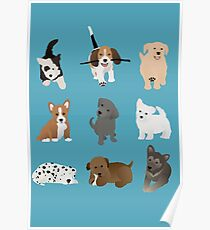 puppies (blue) Poster