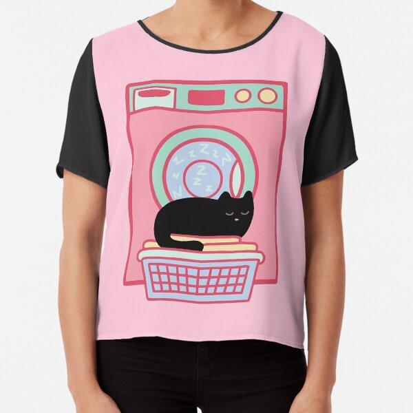 Cat Nap Black Kitten Chiffon Top