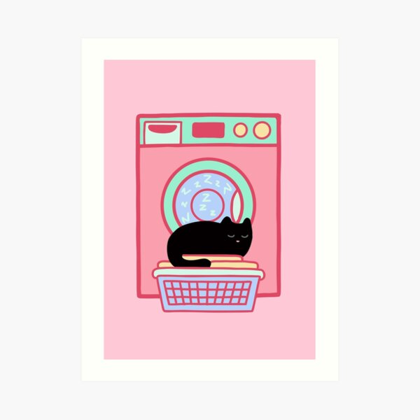 Cat Nap Black Kitten Art Print