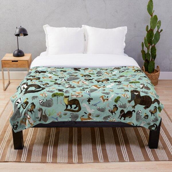 Mustelids from Spain pattern Throw Blanket