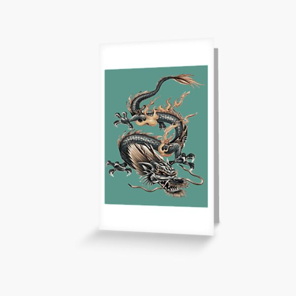 Chinese Fire Dragon Silver Gray And Gold Greeting Card
