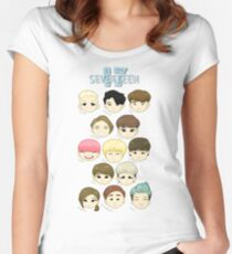 SEVENTEEN Chibi Heads Women's Fitted Scoop T-Shirt