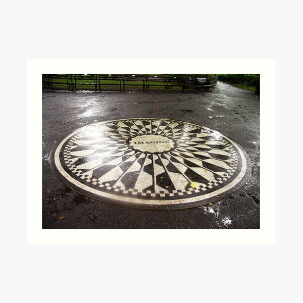 """Imagine"" Mosaic- Strawberry Fields, Central Park, New York Art Print"