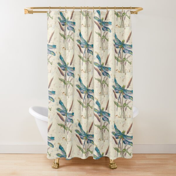 Dragonfly and Cattails Shower Curtain