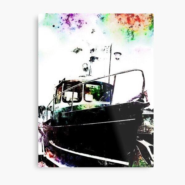 Black Tug with Rainbow Metal Print