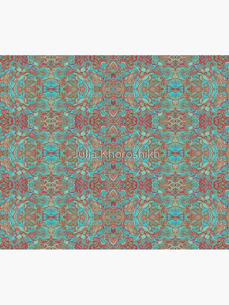 Birds Arabesque, Bohemian Pattern, Red Green Turquoise by clipsocallipso