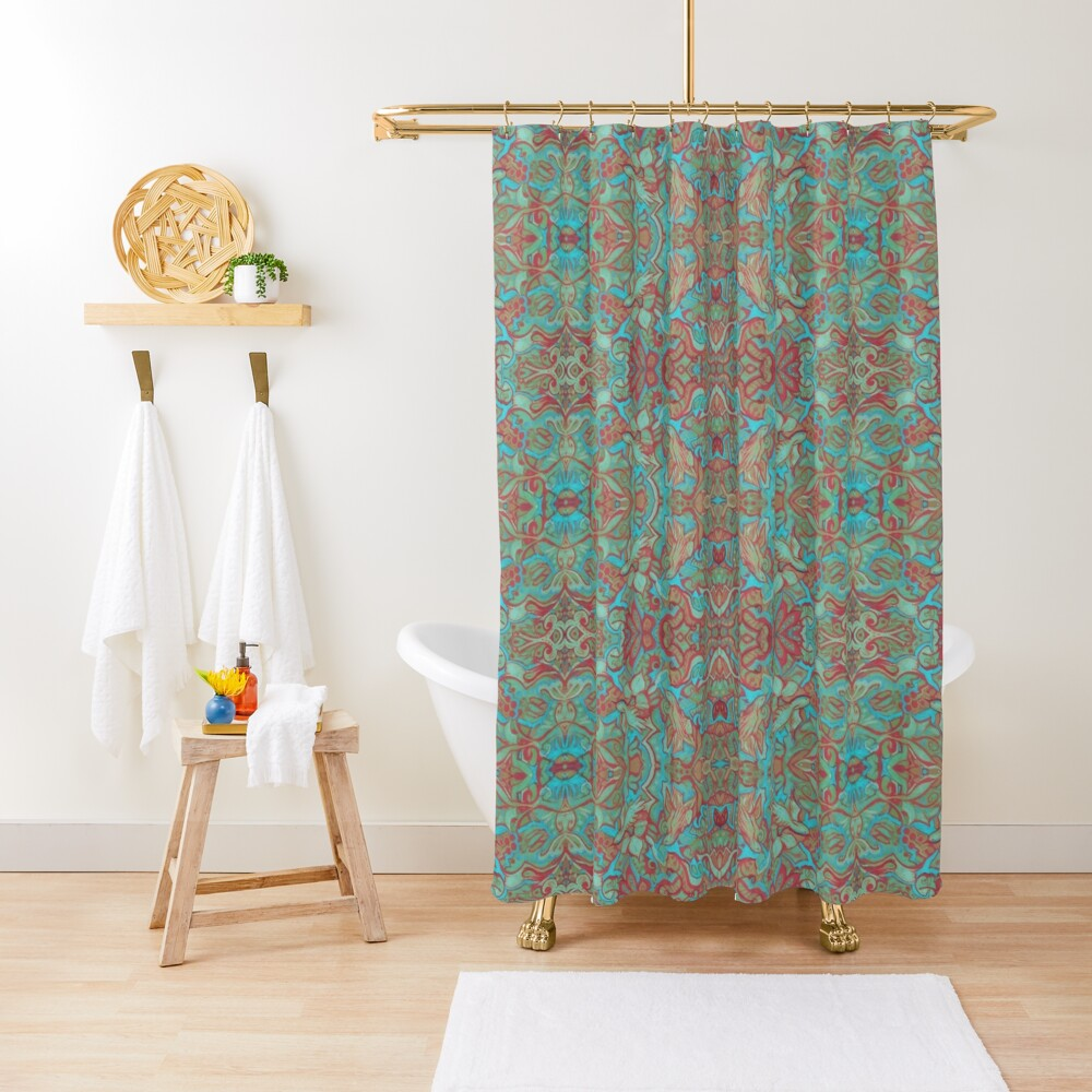 Birds Arabesque, Bohemian Pattern, Red Green Turquoise Shower Curtain