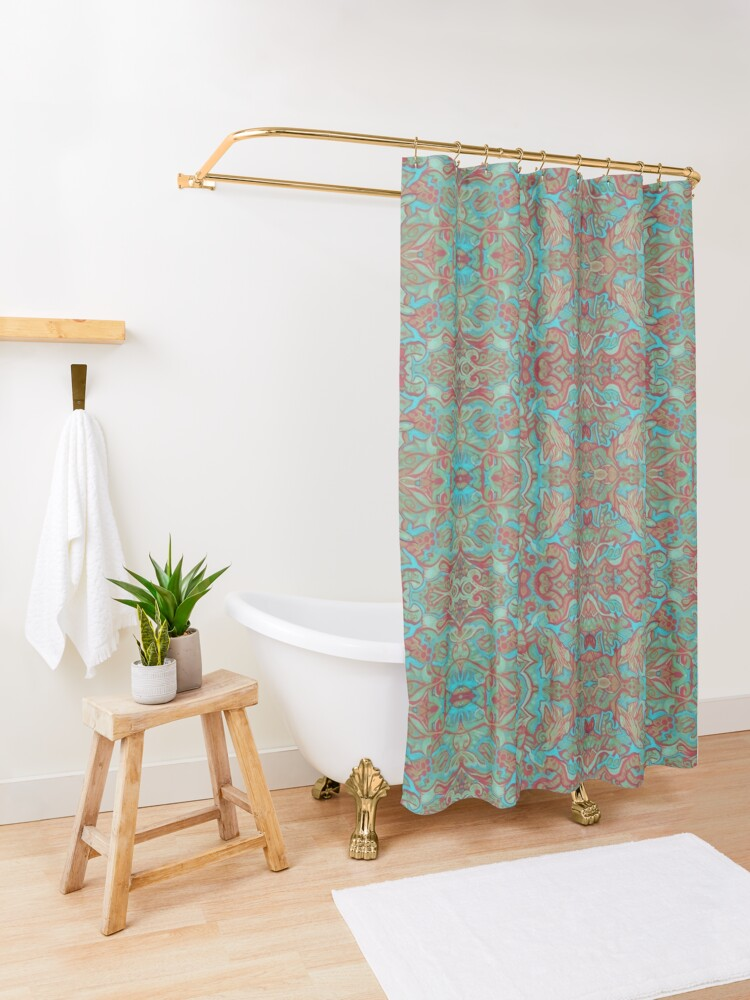 Alternate view of Birds Arabesque, Bohemian Pattern, Red Green Turquoise Shower Curtain