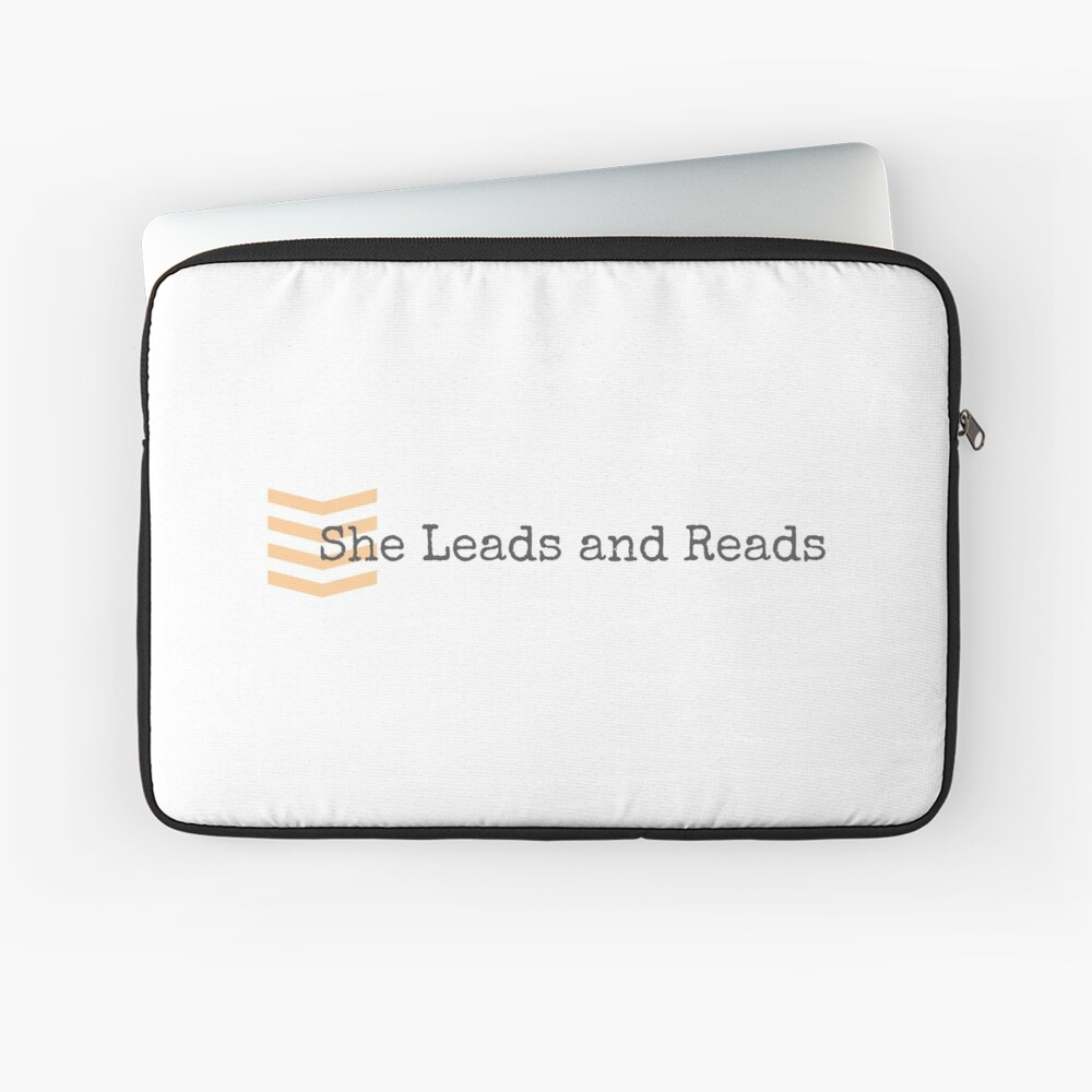 She Leads and Reads Logo Merch Laptop Sleeve