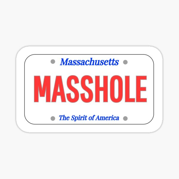 Masshole License Plate Sticker