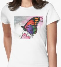 Rainbow Monarch Butterfly Fantasy Art Womens Fitted T-Shirt