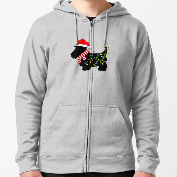 Christmas Scottie Dog With Lights Zipped Hoodie