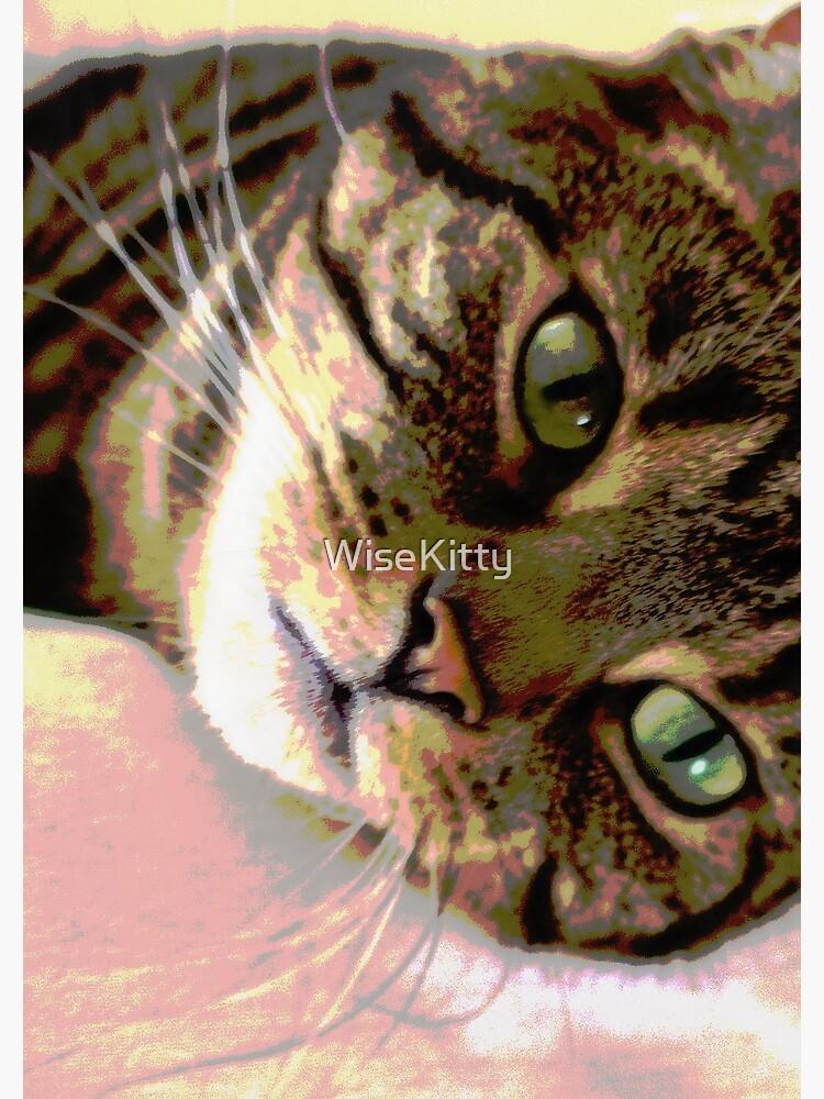 Green-Eyed Tabby Cat Pop Art Digital Art  by WiseKitty