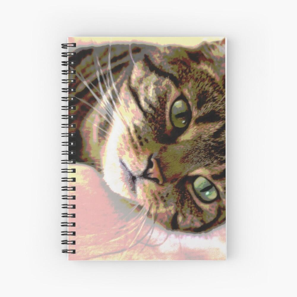 Green-Eyed Tabby Cat Pop Art Digital Art  Spiral Notebook