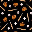Baseball Pattern in Black by evannave