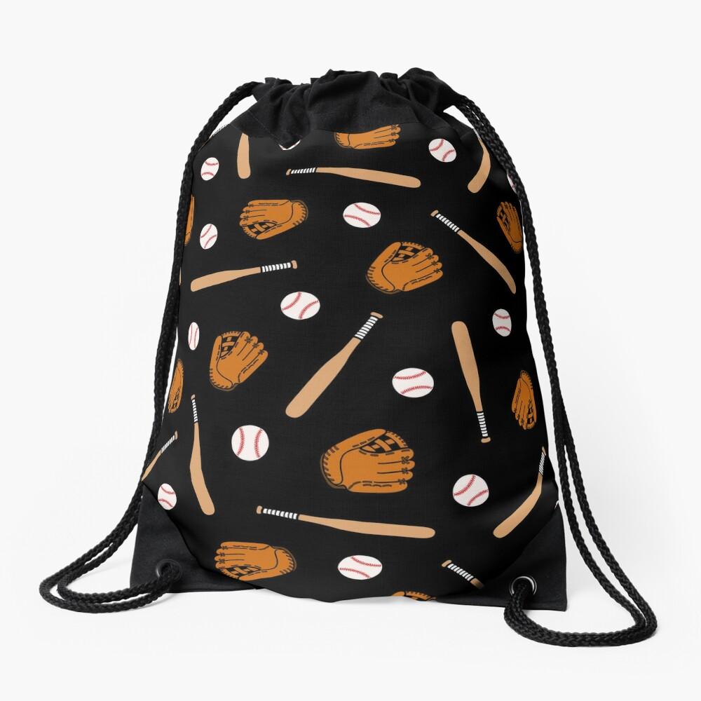 Baseball Pattern in Black Drawstring Bag