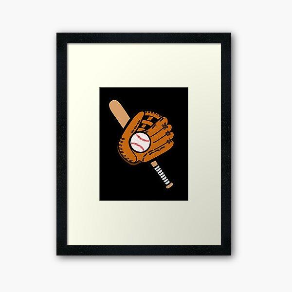 Baseball Pattern in Black Framed Art Print