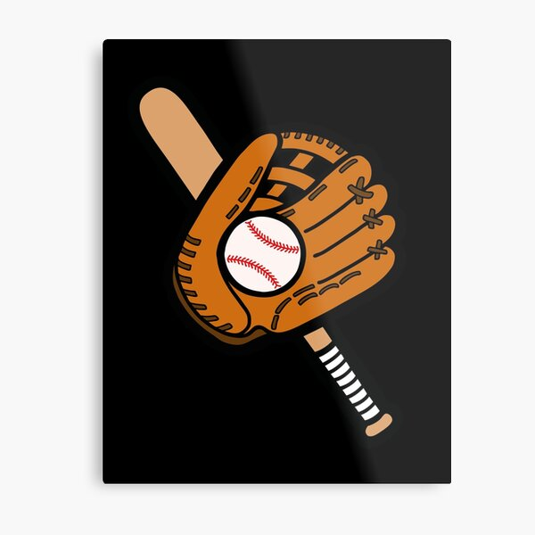 Baseball Pattern in Black Metal Print