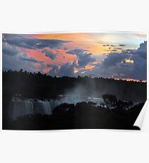 Iguassu Falls Sunset Poster
