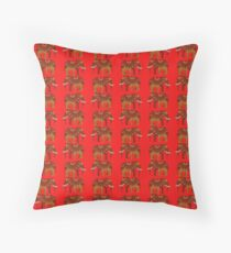 Ornate Patterned Indian Elephant Rustic Rich Colors Throw Pillow