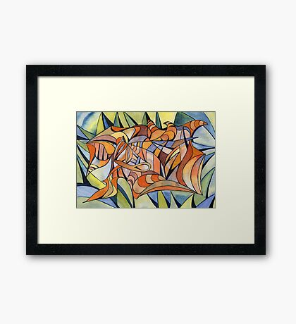 100 - SWIRLING COLOURS - DAVE EDWARDS - WATERCOLOUR - MAY 2003 Framed Print