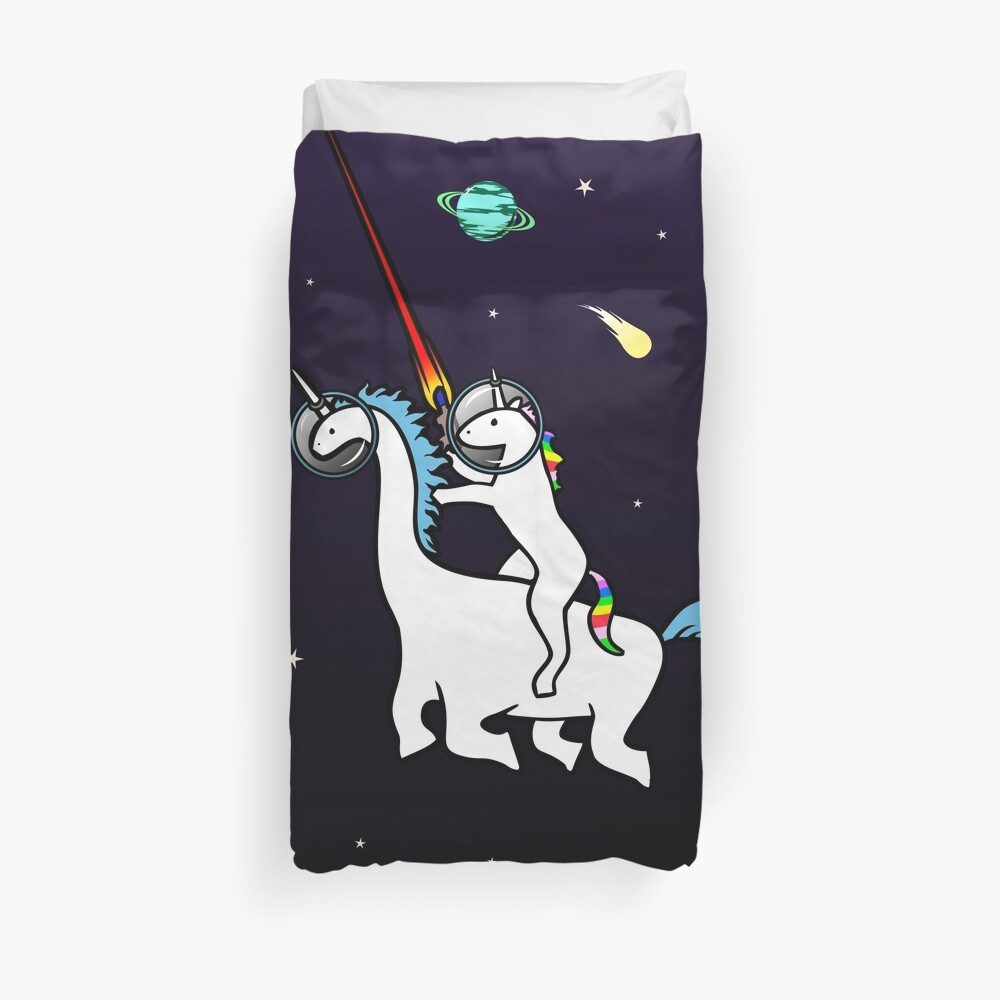 Quot Unicorn Riding Dinocorn In Space Quot Duvet Cover By Jezkemp