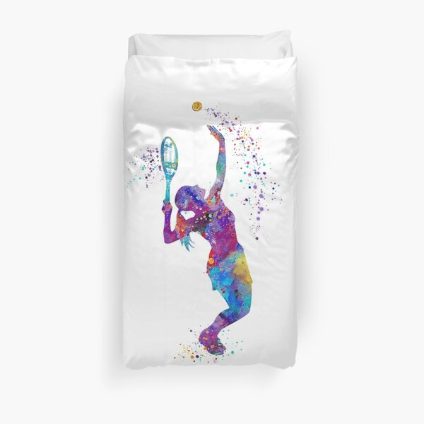 Tennis Girl Watercolor Painting Art Print Gifts Duvet Cover