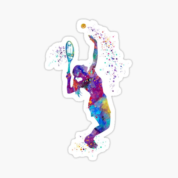 Tennis Girl Watercolor Painting Art Print Gifts Sticker