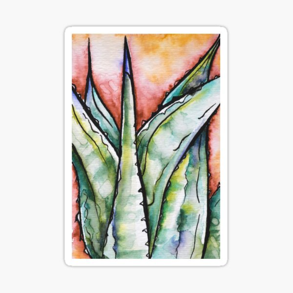 Agave Watercolor Painting Sticker