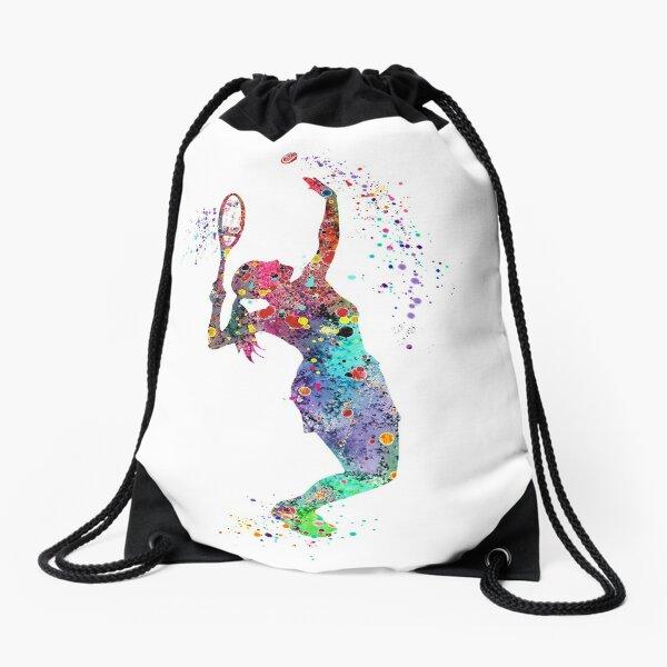 Girl Tennis Watercolor Painting Art Print Gifts Drawstring Bag