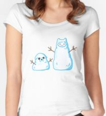 Adventure time Finn and Jake snowmen Fitted Scoop T-Shirt
