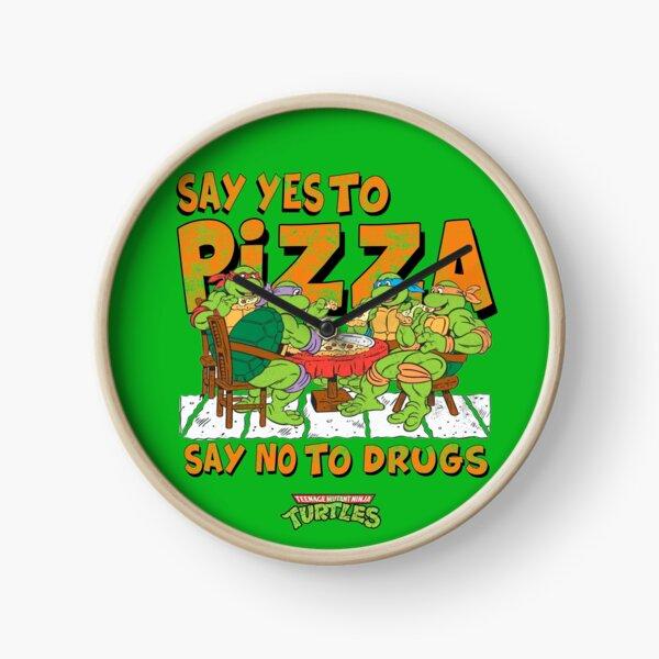 Say Yes To Pizza (Retro Ninja Turtles) Clock